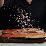 Grilled Salmon with Garlic  Mushroom and Lentil Salad